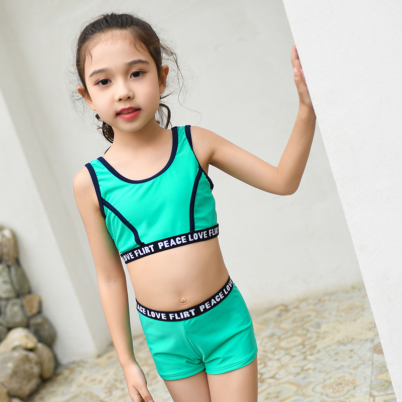 New Style KID'S Swimwear Girls Cute Casual Sports Baby Girls Split Type Bikini Two-Piece Set CHILDREN'S Swimsuit