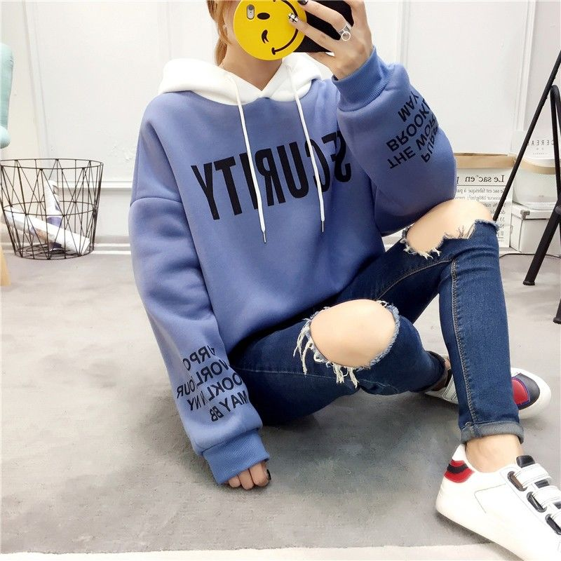 Autumn and Winter New Korean Version of Women's Hooded High Collar Fake Two Fashionable Tops with Plush Thickening for Students 7