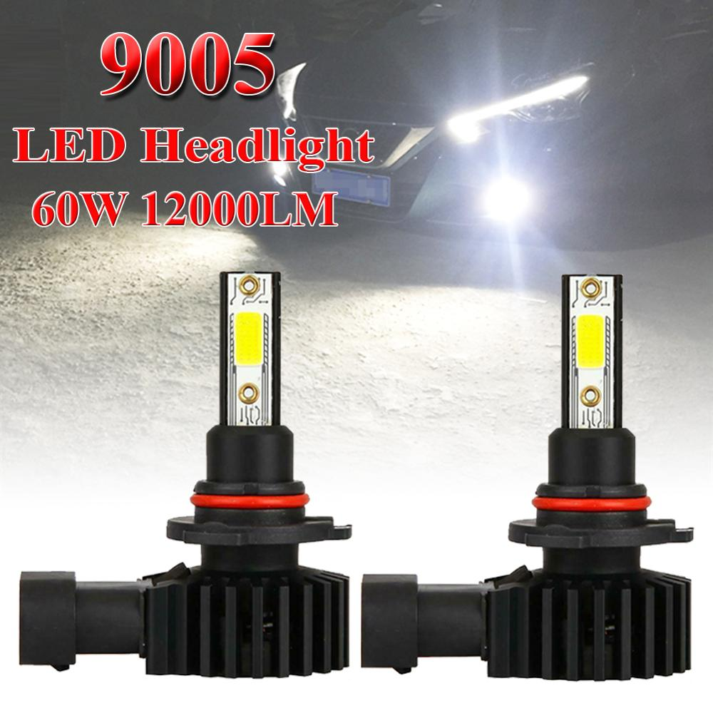 2PCS LED Headlight Kit 9005 9145 LED Headlight Kit 60W 12000LM High Low Fog Bulb HB3 H10 6000K White Headlight Bulb