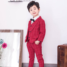 Wine Red Lattice Children's Small Suits Small Middle-aged Children Baby Boys' Suits Boys' Attire