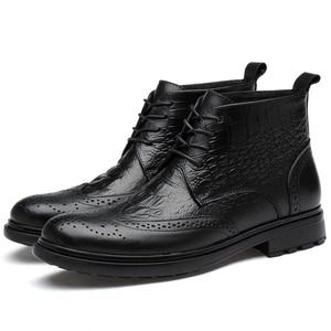 Image 4 - plus size men luxury fashion cow leather boots crocodile pattern brogue shoes carved bullock ankle boot warm cotton winter snow botas sapatos hombre