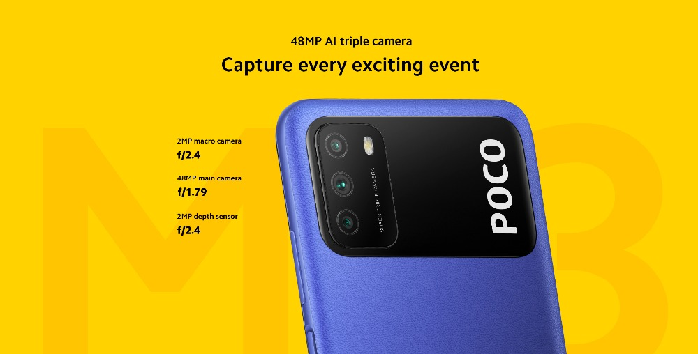 "Global Version POCO M3 4GB 64GB / 4GB 128GB Smartphone Snapdragon 662 6.53"" display 6000mAh battery 48MP Camera"
