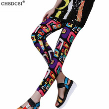 Fitness Leggings Pants Plus-Size Elastic Print Ankle-Length Colorful Mujer Cartoon CHSDCSI