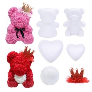 Christmas Ornament Polystyrene Styrofoam Modeling Bear White Foam Bear Heart Ball DIY Craft Wedding Gifts Artificial Flower Head