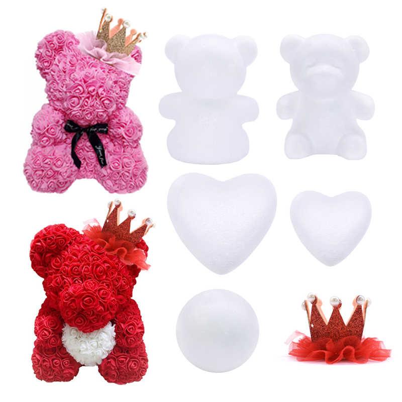 Ornamen Natal Polystyrene Styrofoam Pemodelan Bear Busa Putih Honey Bear Bola DIY Kerajinan Pernikahan Hadiah Buatan Kepala Bunga