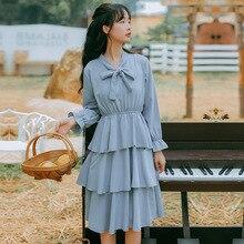 Fall 2019 New Fashion Leisure Butterfly Tie Long Sleeve Cake Dress