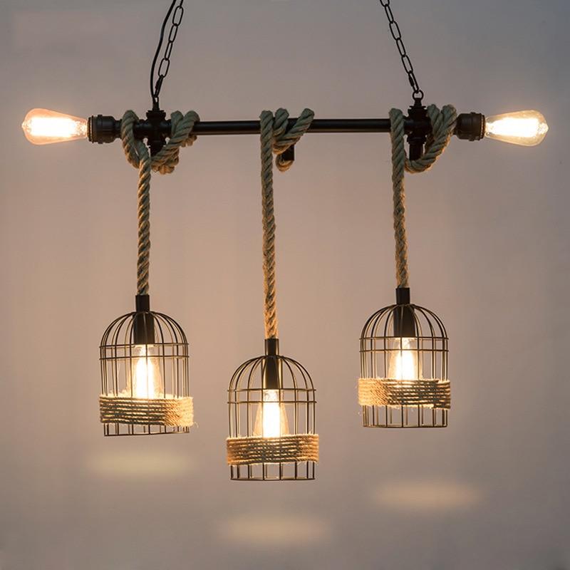 loft industrial hemp rope pendant light farmhouse kitchen lighting black cage iron rustic lamp fixtures