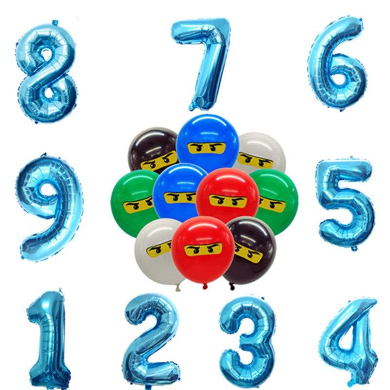 32inch123th в масках для маленьких мальчиков Ninjagoing тема воздушные шары для мальчиков Дети День рождения украшения 12 дюймов латексные