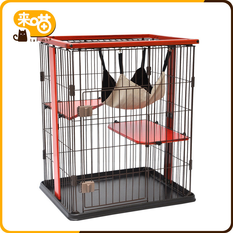 Cat Cage Three Layer Luxury Solid Wood Of Cat Cage Villa Pet Large Size Foldable Cat Cage Double Layer Four Layer