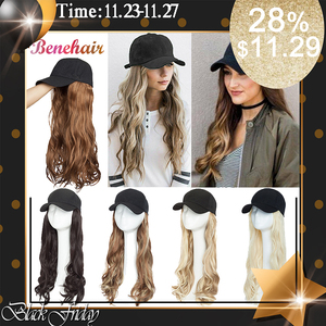 Image 1 - BENEHAIR Baseball Cap With Hair Long Wavy Fake Hair Hat Wig Synthetic Hair Extensions Hat With Hair Natural Hairpiece For Women