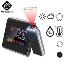 Reloj despertador de proyección Digital LCD a Color, termómetro de temperatura, higrómetro de humedad, escritorio, proyector de tiempo LED, calendario