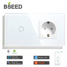BSEED Wifi Touch Switch 1Gang 2Gang 3Gang With Normal EU Socket Without Wifi 3 Colors Crystal Glass Panel Smart Switch Only