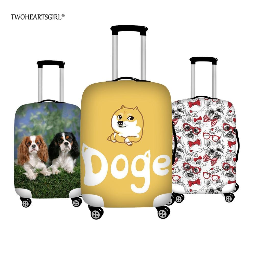 Poeira à Prova Mala de Viagem Twoheartsgirl Tronco Case Capa Anti-poeira Corgi Yorkshire Terrier Bagagem Protetora Dwaterproof Água Capas