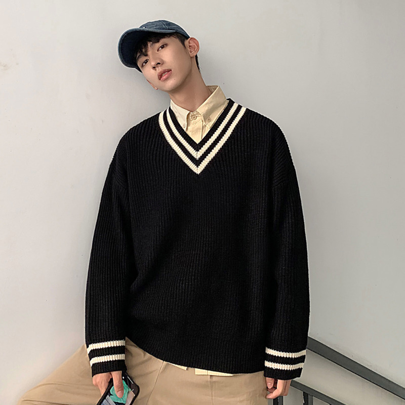 Winter Sweater Men's Warm Fashion Solid Color Casual Knit Pullover Man Sweter Clothes Loose Long-sleeved Sweaters Male Clothes