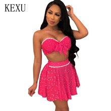 KEXU Women Polka Dot Dress Summer Sexy Two Pieces Sets Strapless Mini Femme Sleeveless Hollow Out Elegant Short Vestidos