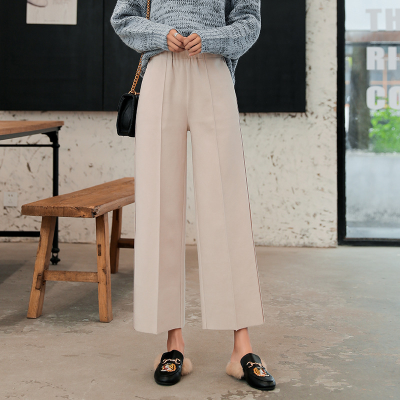 Thick Autumn Winter   Pants   Women Woolen   Wide     Leg     Pants   Black Grey Loose Ankle Length   Pants   High Waist Leisure Trousers Casual