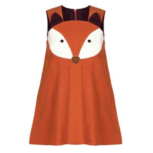 Image 4 - Sweet Baby Girls Fox Dress Corduroy Dress Orange Color Cartoon Sweet Kids Dress
