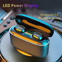 9D אלחוטי עמיד למים אוזניות Led דיגיטלי תצוגת Bluetooth אוזניות מגע בקרת רעש הפחתת ספורט אוזניות עבור טלפון