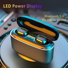 Беспроводные водонепроницаемые наушники 9D со светодиодным цифровым дисплеем, Bluetooth наушники с сенсорным управлением и шумоподавлением, Спортивная гарнитура для телефона