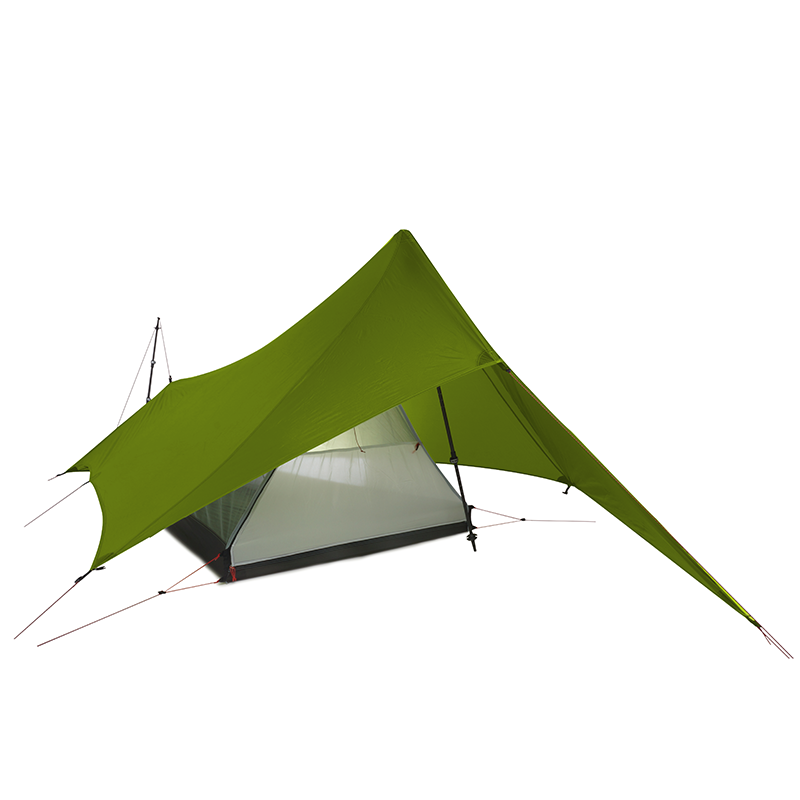 FLAME'S CREED XUNSHANG กลางแจ้ง Ultralight Camping เต็นท์ 1 คน 3 ฤดู 20D Silnylon Rodless Multifunction TentRain Fly Tarp