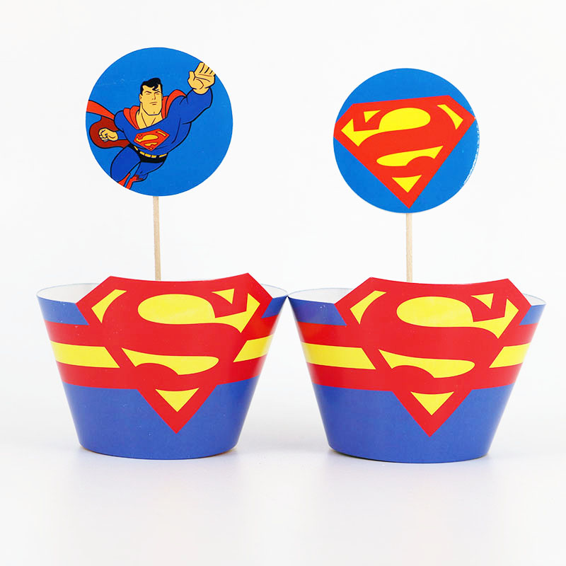 Superman Party Cake Decor 12pcs Cupcake Wrapper 12pcs Topper Baby Shower Kids Birthday Party Cake Decor Supplies image