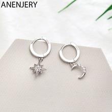 ANENJERY orecchini a cerchio a forma di stella di zircone di moda calda in argento Sterling 925 per le donne 2020 migliori regali di natale gioielli S-E1360