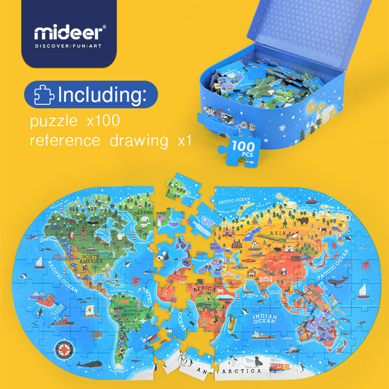 MiDeer 100pcs Map Jigsaw Puzzle Toys Children's Puzzle Jigsaw Kids Cognitive Baby Early Education Puzzle Gift Box Baby Toy