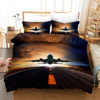 Wishstar 3D Bed Linen Airplane Digital Print Queen Size Bedding For Boys Aircraft Duvet Cover Set Home Textile