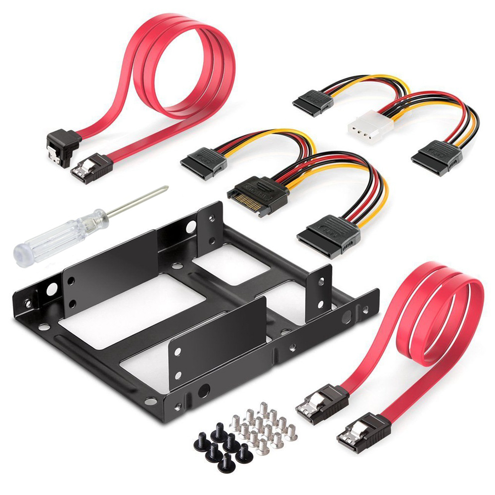 Durable Computer Screw Power Cable SATA Data Cable Internal Hard Disk Drive Mounting Kit Accessories Bracket