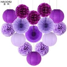 15 pçs/lote tecido papel lanterna/pom poms flor/roseta fãs aniversário festa de chá do bebê casamento decoração papel conjunto cor violeta