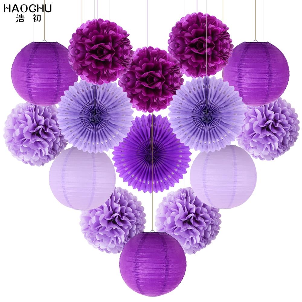 15 unids/lote tejido linterna de papel/Pom Flor de pompones abanicos de roseta de cumpleaños bebé ducha partido papel de decoración de Bodas de Color violeta