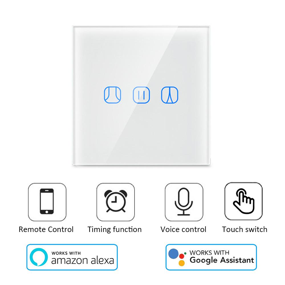 Teekar T1 Smart Life WiFi Curtain Blind Switch EU Standard For Roller Shutter Electric Motor Google Home Alexa Smart Home White