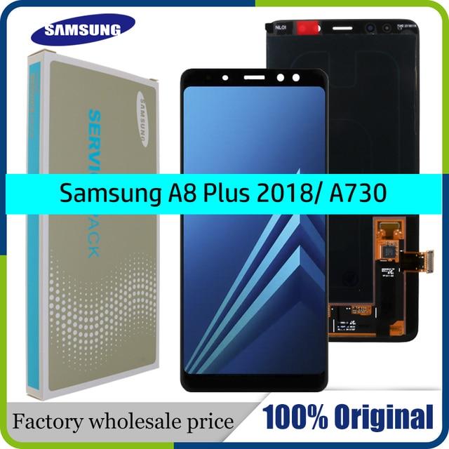 100% orijinal AMOLED ekran samsung LCD Galaxy A8 artı 2018 A730 lcd ekran dokunmatik ekran digitizer değiştirme ayarlayabilirsiniz