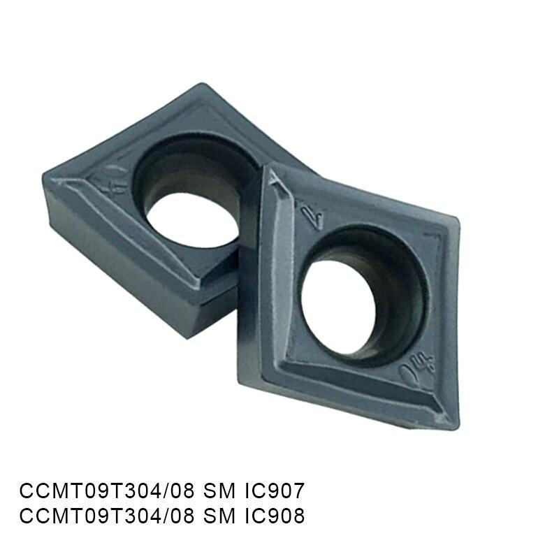 10pcs CCMT09T304 SM IC907 IC908 CCMT09T308 Internal Turning Tools Carbide Inserts Lathe Cutter Cutting Tool CNC Tools Insert