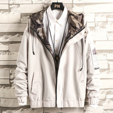 Military Camouflage Solid Zipper Jacket  Loose Japanese Coat Male Streetwear Mens Youth Jackets Coats Fashion Autumn