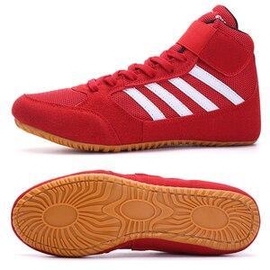 Новый профессиональный дышащие туфли для Реслинга; Для мужчин размеры 35–44 красные, черные кроссовки-борцовки анти Slilp Летающий бокс нет в н...