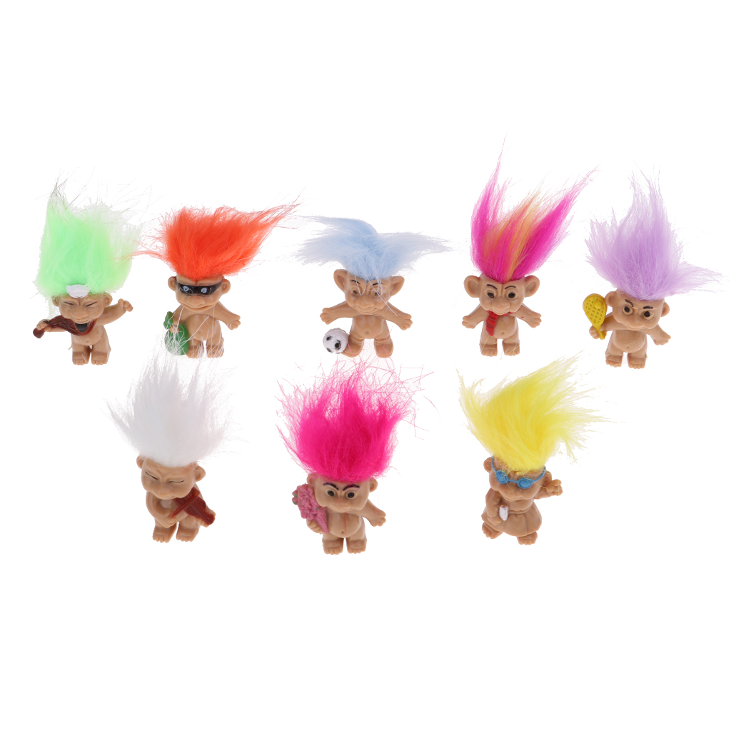 8pcs Troll Lucky Dolls Little Guys Action Figures PVC Toy Crafts For Dollhouse