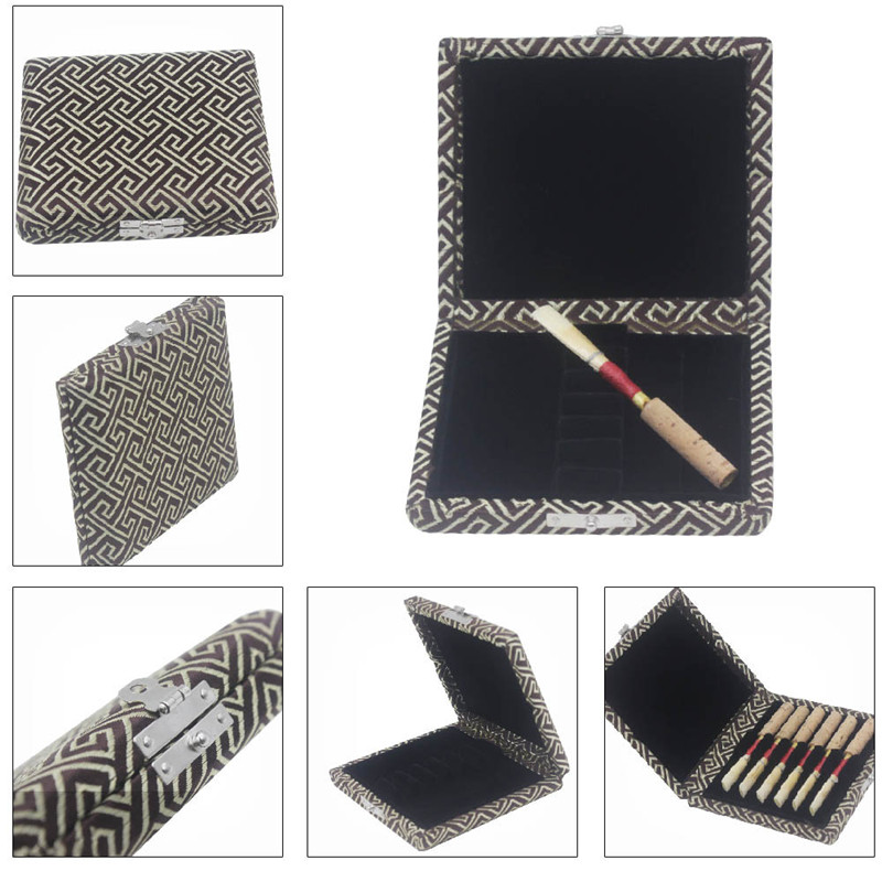 6pcs Lightweight Oboe Reeds Storage Box Solid Wooden Silk Reed Box Oboe Reeds Protector Instrument Box Accessories