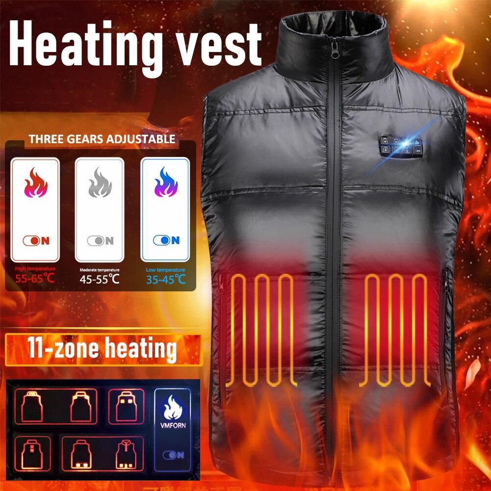 Зима Открытый 11 Зона Интеллектуальный Температура Контроль Электро Отопление Жилет Полный Тело Зарядка Жилет Пух Куртка Для Мужчин Женщин