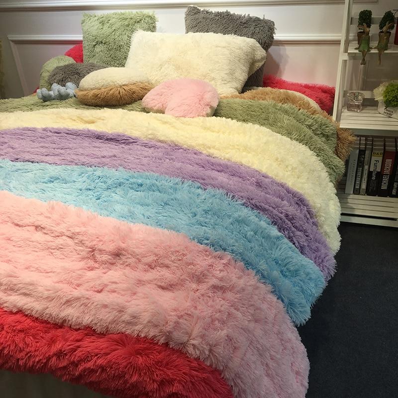 1Piece White Blue Pink Purple Gray Warm Soft Mink Velvet+Berber Fleece Duvet Cover Girls Bedding Set