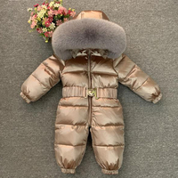 Luxury Large Real Fur Collar Infant Baby Snowsuit Thick Warm Down Rompers Hooded Toddler Boys Girls Jumpsuit One pieces Ski Suit