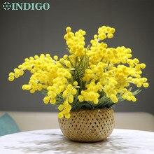 INDIGO- Yellow Mimosa Bouquet  Flower Arrangement With Basket Gift Artificial Tea Table Bonsai Event Centerpiece Free Shipping