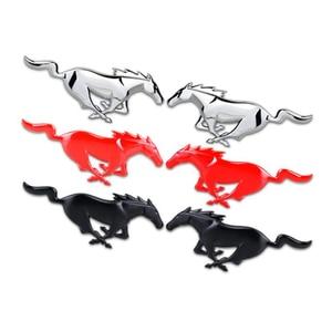 Image 1 - Para Ford Mustang accesorios de estilo de coche 3D Auto pegatina Metal corriendo caballo parrilla delantera parrilla capota del camión emblema insignia