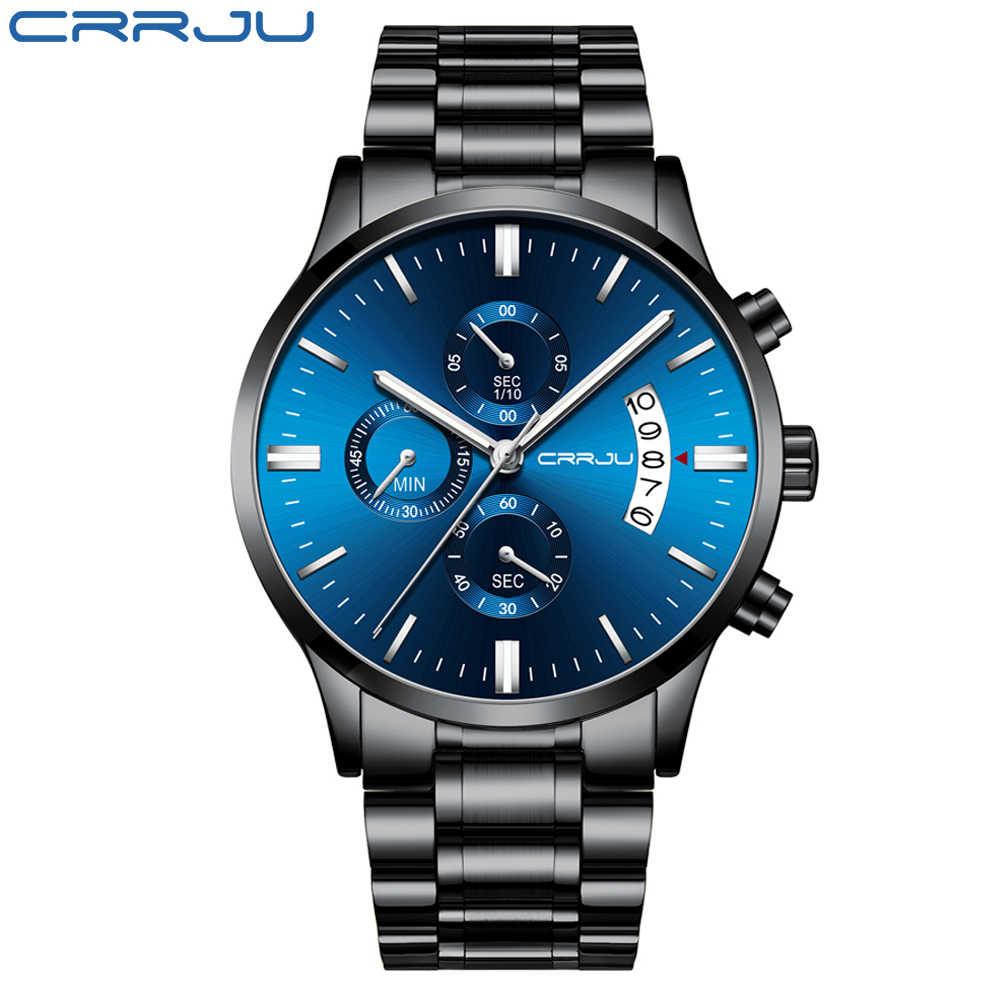 למעלה מותג CRRJU גברים שעונים אופנה כחול נירוסטה עמיד למים ספורט שעון גברים קוורץ שעון זכר הכרונוגרף Reloj Hombre