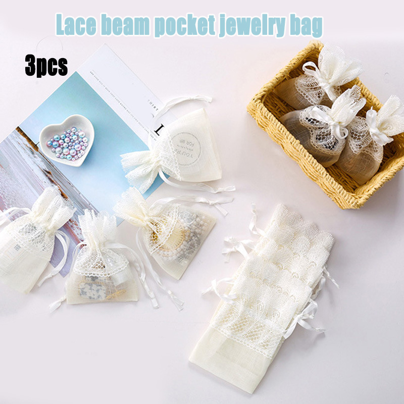 3 Pcs Drawstring Gift Bag Multipurpose Lace For Wedding Party Favor Jewelry Candy J9