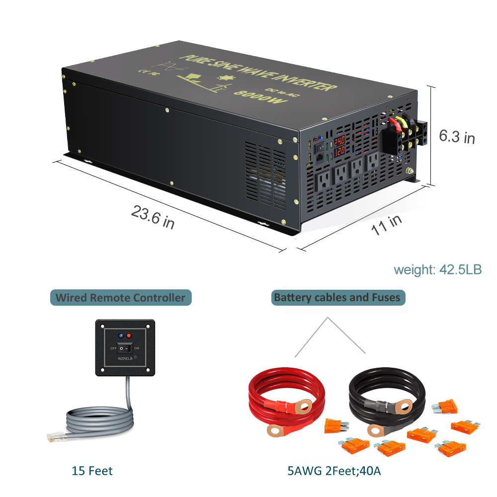 de energia solar 8000w gerador 12v 24v