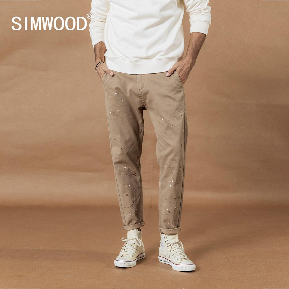SIMWOOD 2019 Autumn New Paint Splatter Pants Men Fashion Hip Hop Ankle-length Trousers Street Artisc Plus Size  Pants SI980554
