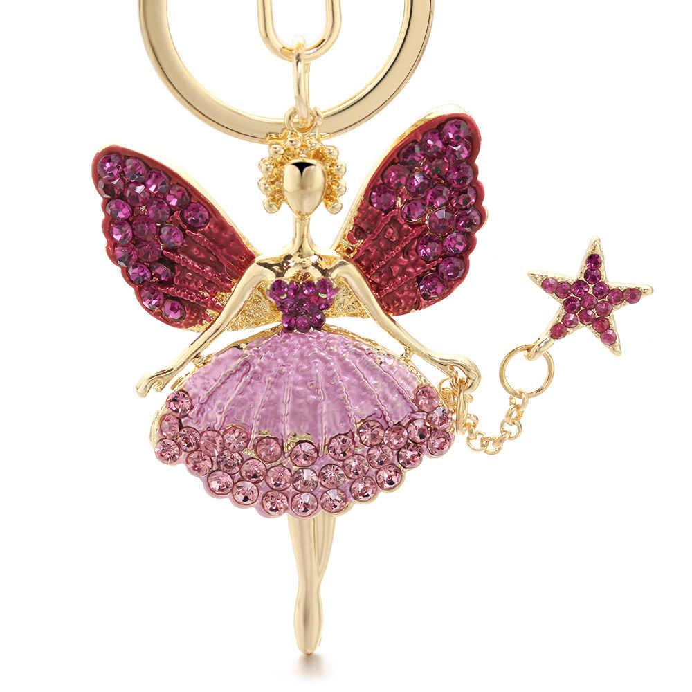 Ангел брелок для девушек горный хрусталь кристалл брелок держатель сумка кулон аксессуары милый женский эмалевый брелок для автомобиля K403