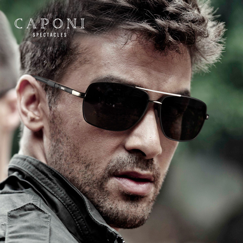 Caponi Men Square Polarized Avaition Sunglasses Driving For Day And Night Photochromic UV400 Sun Glasses BS8724