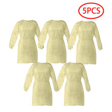 5Pcs Disposable Surgical Gown Isolation Clothes Protective Suit Coveralls Dustproof Labor Protection Clothing Smock coverall A80(China)